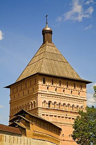 Monastery wall, tower, St. Euthymius Monastery, Suzdal, Russia