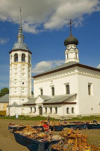 Market square with Resurrection church and Kazan church, Suzdal, Russia