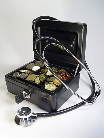 Cash box with stethoscope