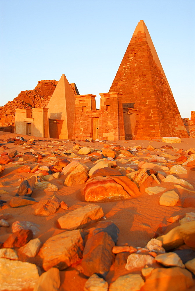 Pyramids in morning light, Meroe, Sudan