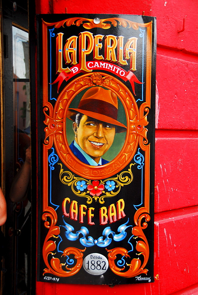 Sign that shows tango singer Carlos Gardel, La Boca, Buenos Aires, Argentina - 832-297475