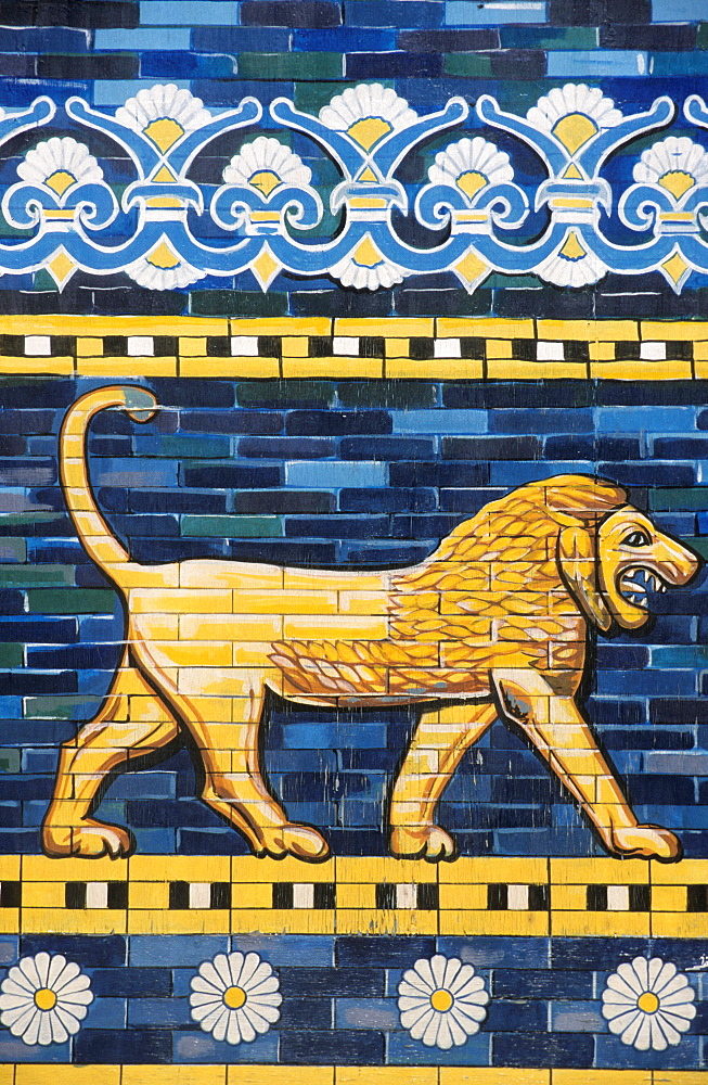 Modern wall painting, mural of the Lion of Babylon, Babylon, Iraq, Middle East