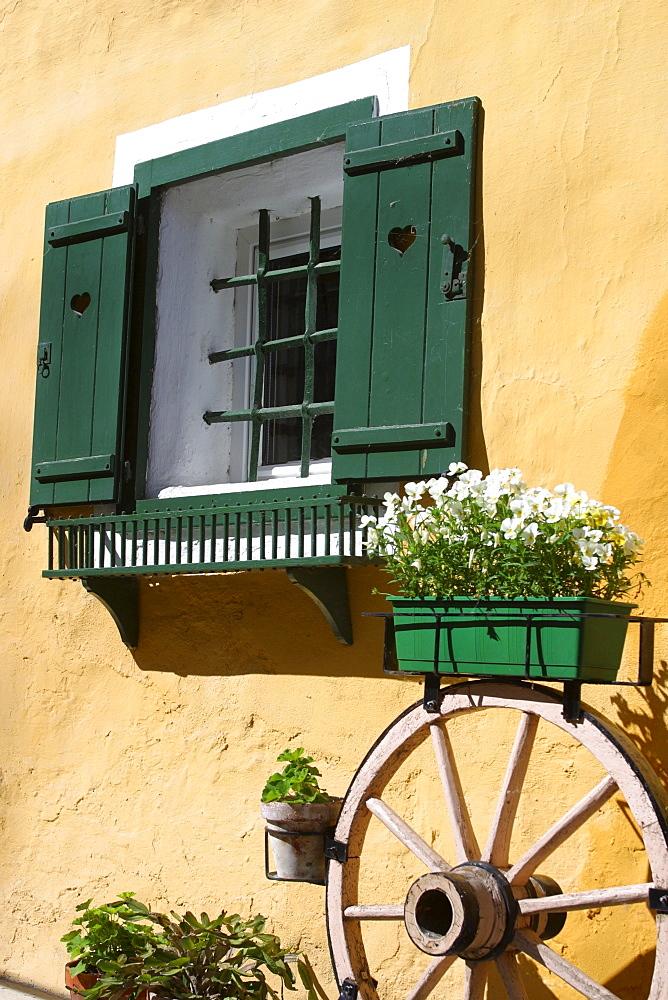Window with green shutters in Waidhofen / Ybbs, Austria, Lower Austria, Mostviertel Region