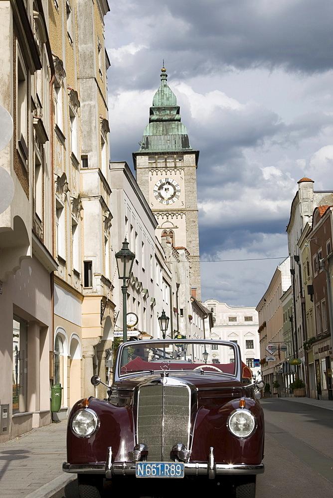 Mercedes Convertible, Oldtimer, in Enns, Upper Austria, Austria