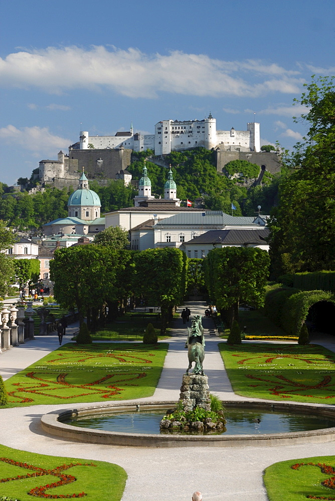 View from Mirabell Garden to fortress Salzburg, Salzburg, Austria