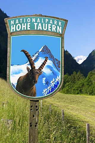 Sign at the entrance to Hohe Tauern National Park, Salzburg, Austria, Europe