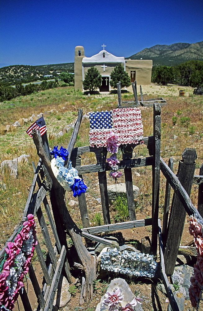 Cemetery with american flags, New Mexico, USA, America