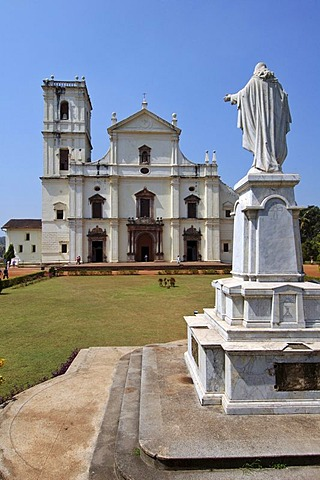 Statue of Jesus in front of Se Cathedral, Old Goa, India