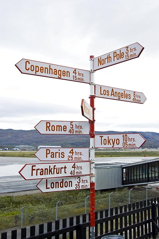Directional sign Kangerlussuaq, (Sondrestroemfjord), Greenland