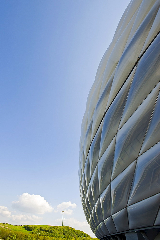 Allianz Arena, Soccer stadium, Froettmaning, Munich, Bavaria, Germany, Europe, PublicGround