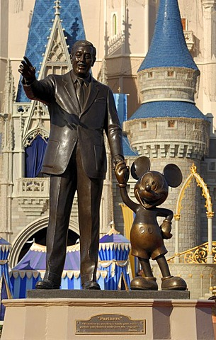 Walt Disney and Mickey Mouse statue at Walt Disney World's Magic Kingdom, Florida, USA