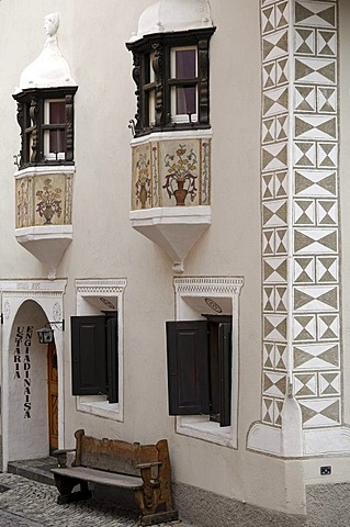 Engadin house, Scuol, Schuls, Upper Engadin, Grisons, Switzerland