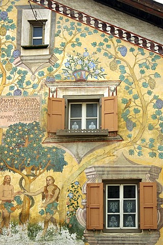 Adam and Eve in the Garden of Eden, Sgraffito outdoor wall painting, Ardez, Engadin, Grisons, Switzerland