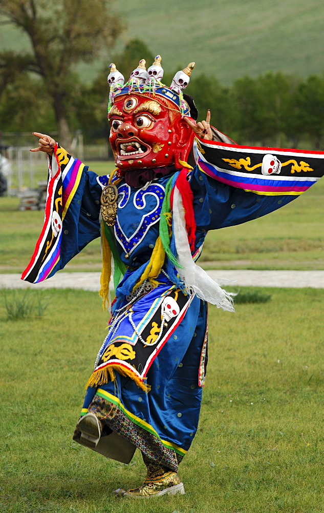 War God, dancing daemon wearing a traditional Tibetan Buddhist dance mask for the Tsam ritual dance, Ulan Bator or Ulaanbaatar, Mongolia, Asia