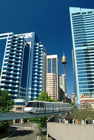 Monorail and Sydneytower, city center, Sydney, New South Wales, Australia