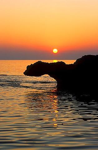 Silhouette of a rock formation, Phalasarna, Crete, Greece