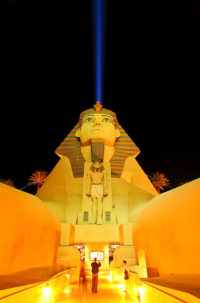 "Sphinx replica and the ""space beam, "" main entrance to the Luxor Hotel & Casino, Las Vegas Boulevard, Las Vegas, Nevada, USA, North America"