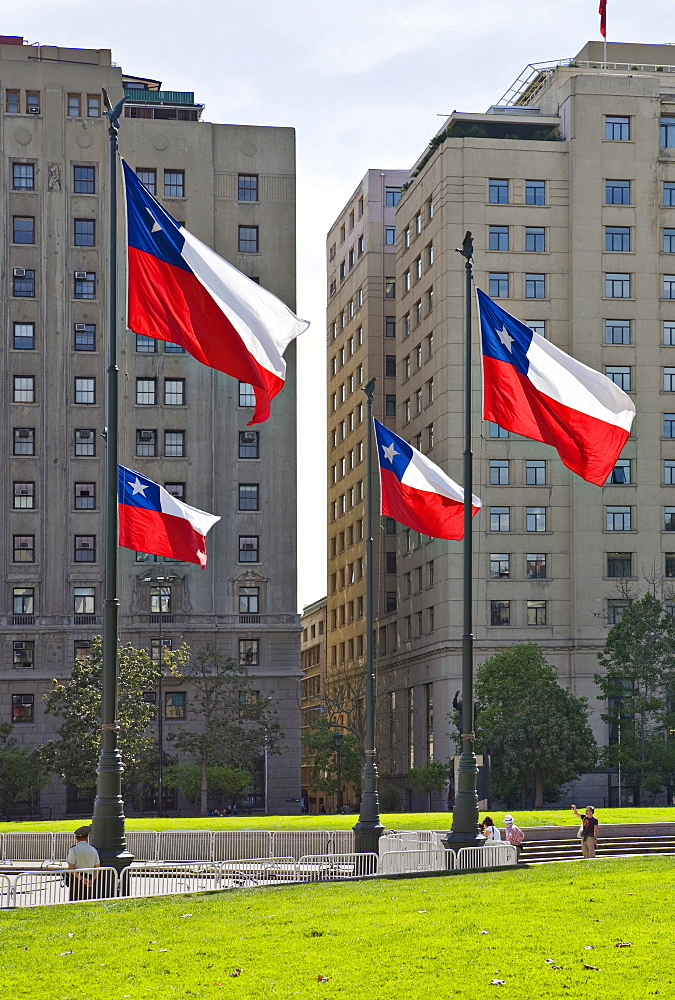 Chilean flags in front of high-rise buildings, Santiago de Chile, Chile, South America