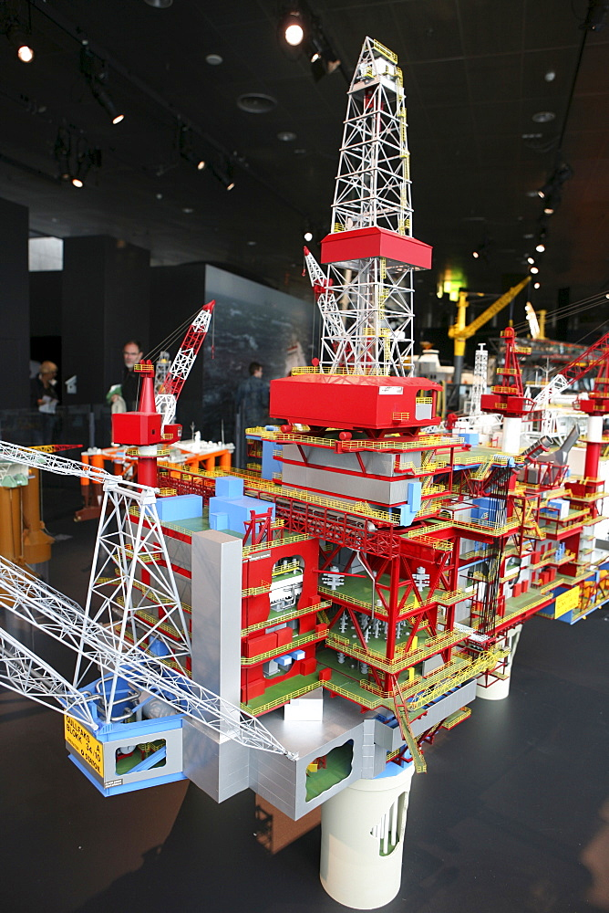 Model of an offshore oil rig, Petroleum Museum, Stavanger (European Capital of Culture 2008), Norway, Europe