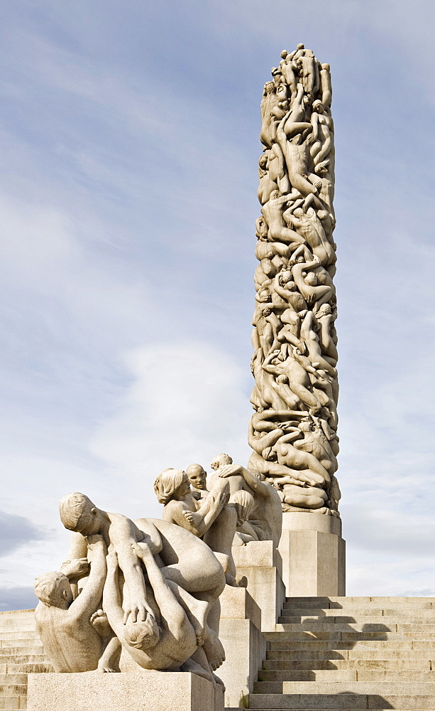 Monolithic column in Vigeland Sculpture Park at Frogner Park, Oslo, Norway, Scandinavia, Europe