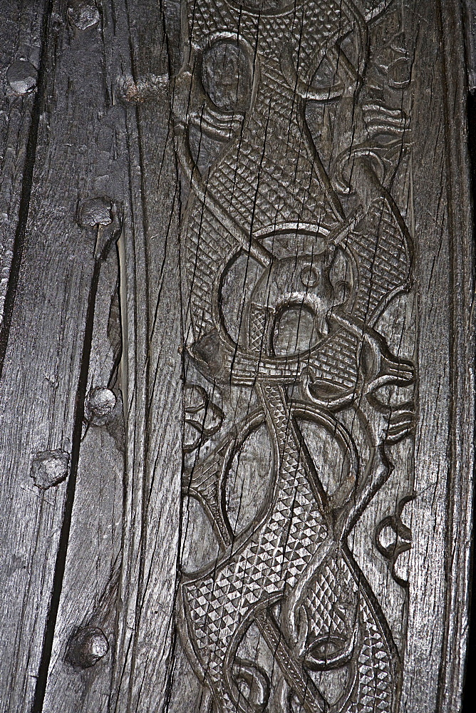 Carvings on the Oseberg Ship at the Viking Ship Museum, Bygdoy, Oslo, Norway, Scandinavia, Europe