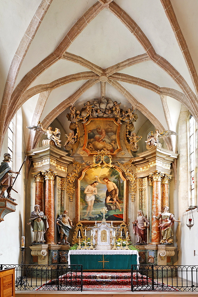 Late-baroque high altar and altarpiece depicting John the Baptist at the parish church in Altenmarkt, Triestingtal, Lower Austria, Austria, Europe