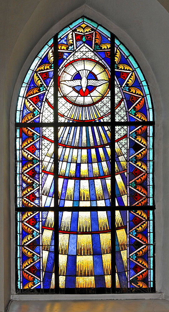 Stained-glass window at the church in Hirtenberg, Triesingtal (Triesing Valley), Lower Austria, Austria, Europe