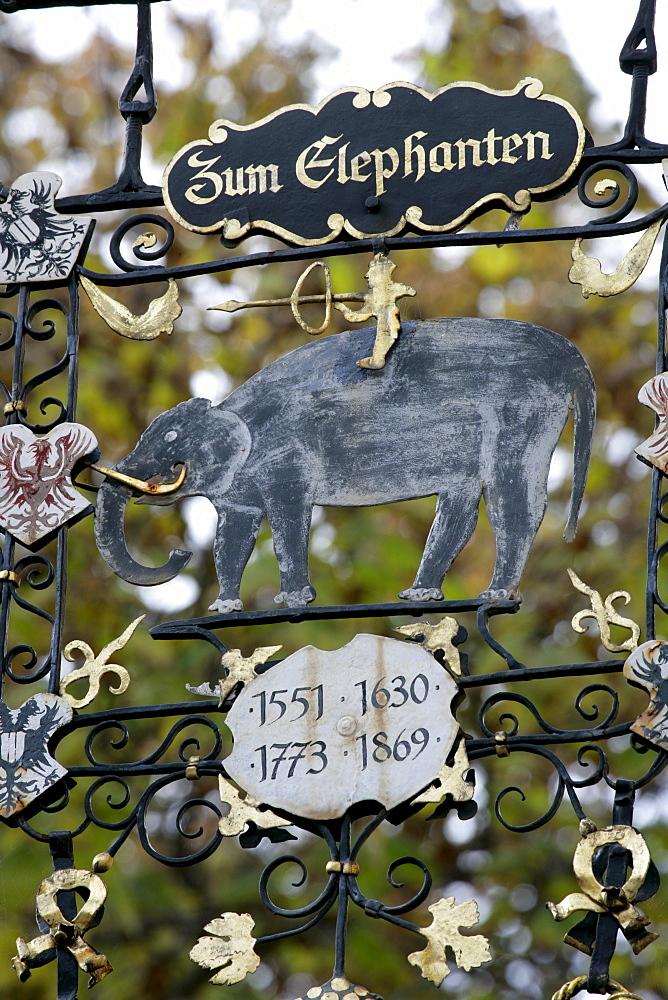 Sign for historic inn, Hotel Zum Elephanten, Brixen, South Tyrol, Italy