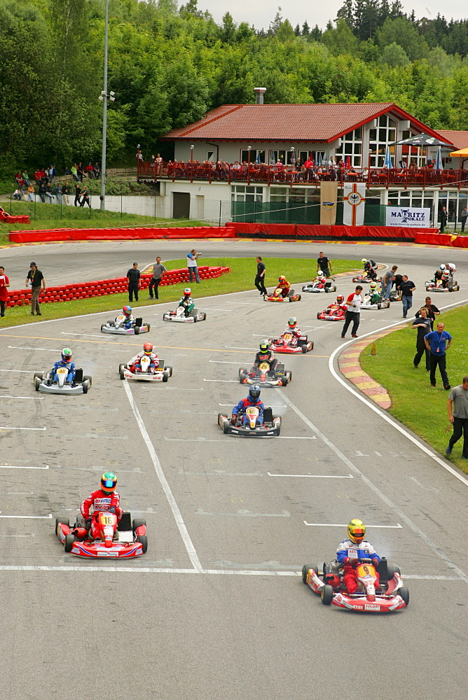 Kartracing, Kart track in Ampfing, Upper Bavaria, Bavaria, Germany, Europe