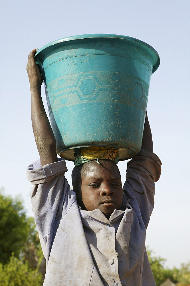 Boy carrying a pail of water on his head, Sahel region, Cameroon, Africa