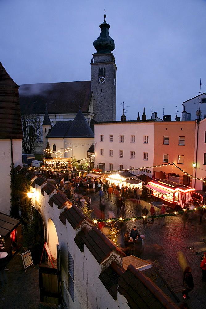 Christmas market, Muehldorf am Inn, Upper Bavaria, Bavaria, Germany, Europe