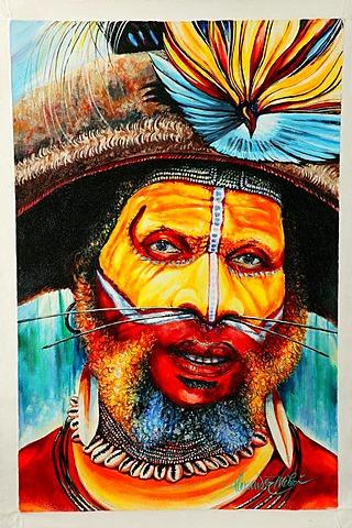 Painting by Alexander Mebu, Port Moresby, Papua New Guinea, Melanesia