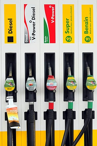 Petrol pump, nozzles of different types of petrol and diesel