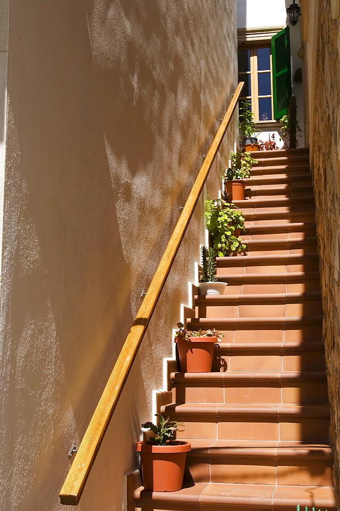 Flowerpots on a staircase, Cala Figuera, Majorca, Balearic Islands, Spain, Europe
