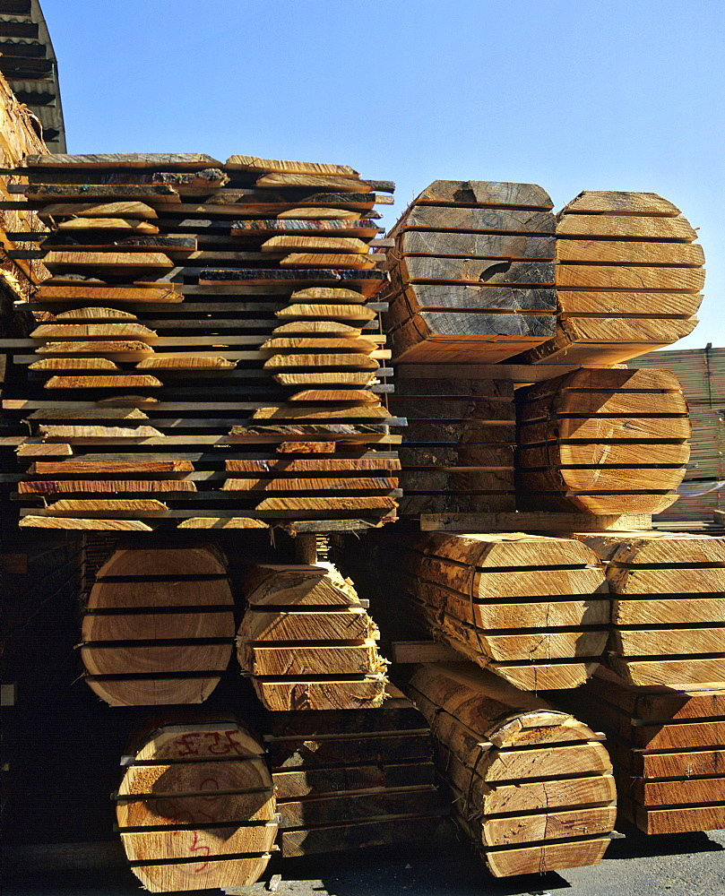 Lumber storage at a sawmill, lumber industry