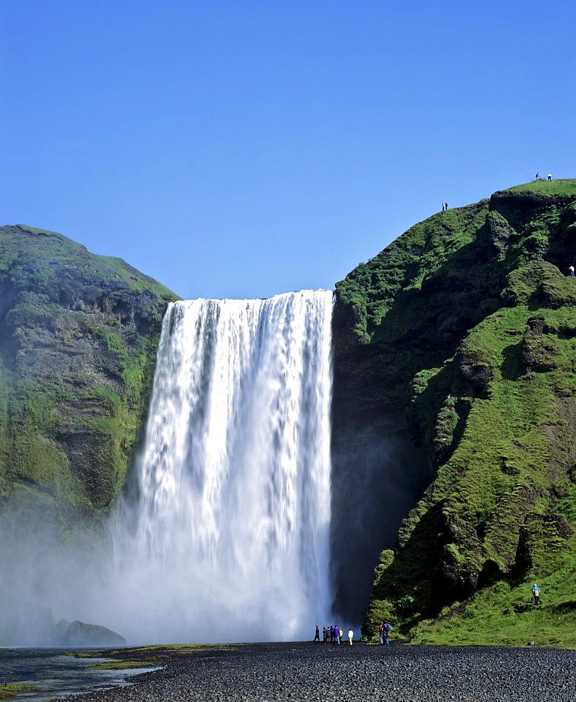 Skogarfoss Waterfalls, Eyjafjallajoekull, southern Iceland, Iceland
