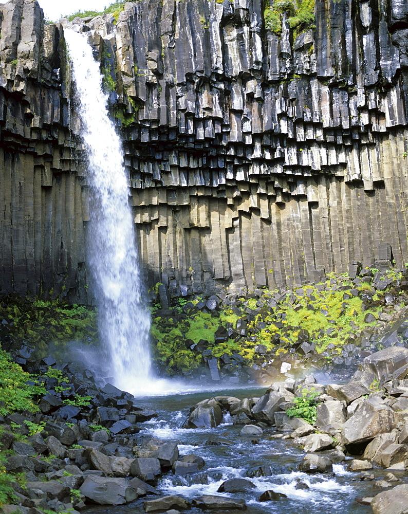"Svartifoss, ""Black Waterfall, "" with basalt columns, Skaftafell National Park, southeast Iceland, Iceland"