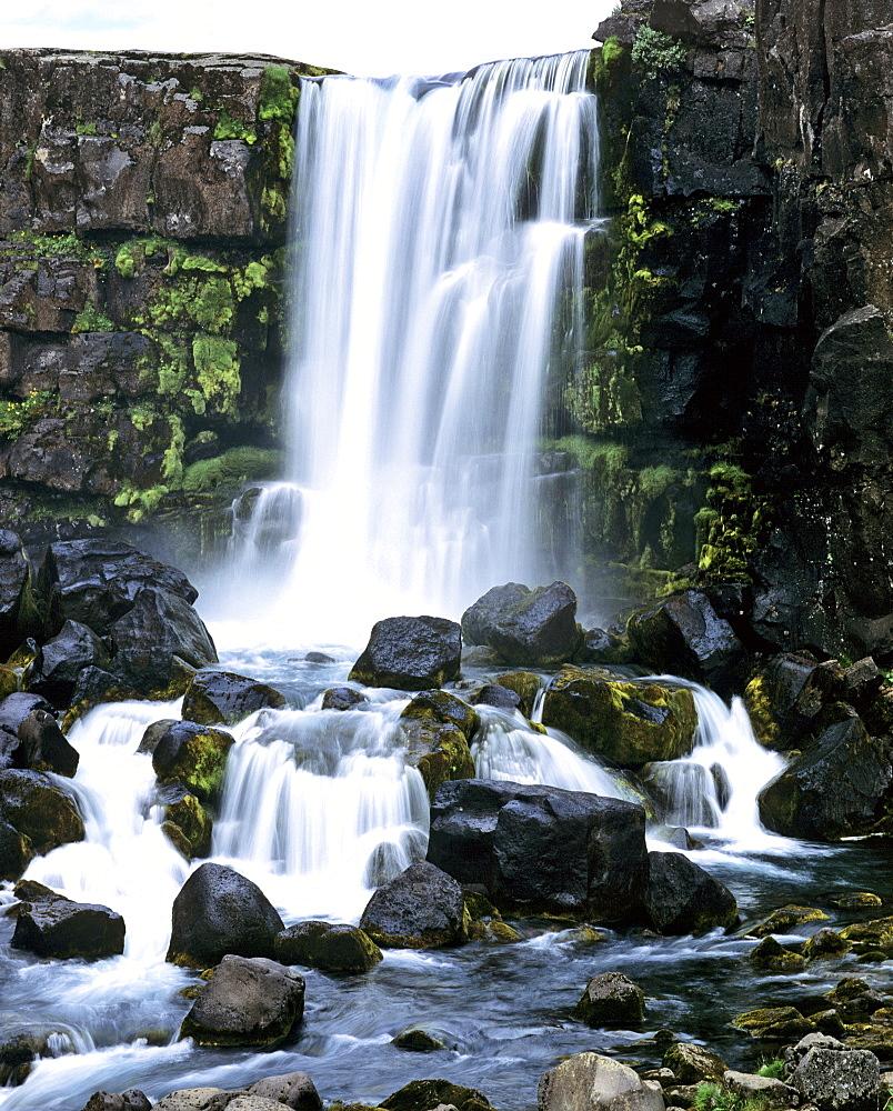 Oexarafoss Waterfalls, Oexara Fluss, Thingvellier, Hvalfjoerour, Iceland