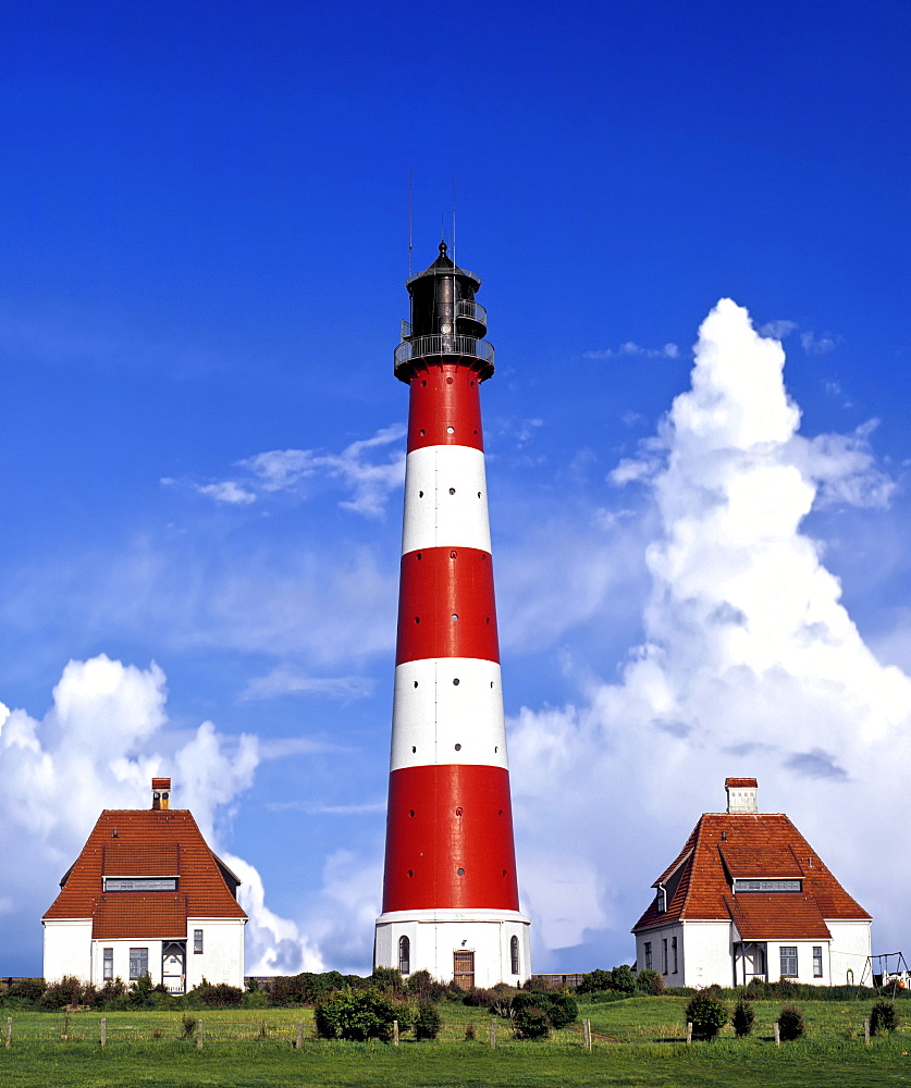 Westerheversand Lighthouse with interesting cloud formations, Westerhever, Eiderstedt Peninsula, Schleswig-Holstein, Germany, Europe