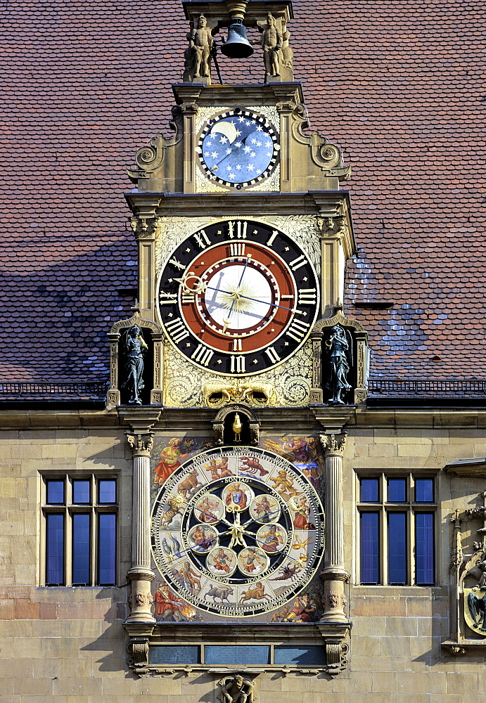 Renaissance-era astronomical clock, town hall, Heilbronn, Baden-Wuerttemberg, Germany, Europe