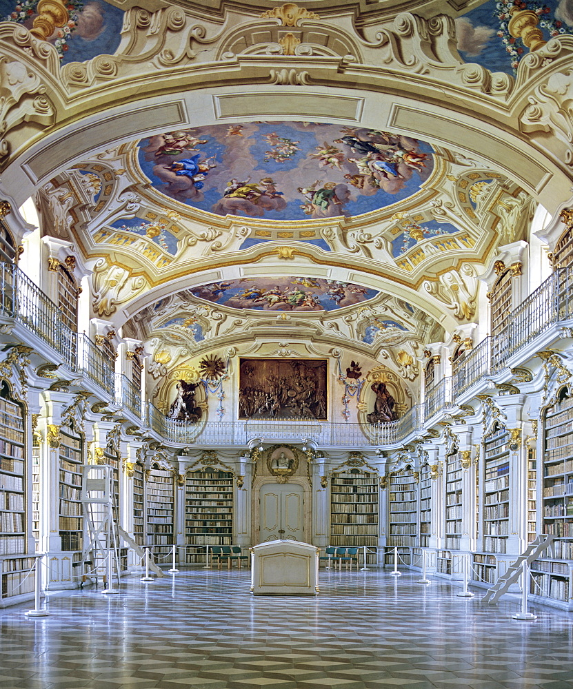 Ceiling frescoes in the largest monastic library (1766) in the world at Admont Abbey, Benedictine monastery in Liexen, Styria, Austria, Europe