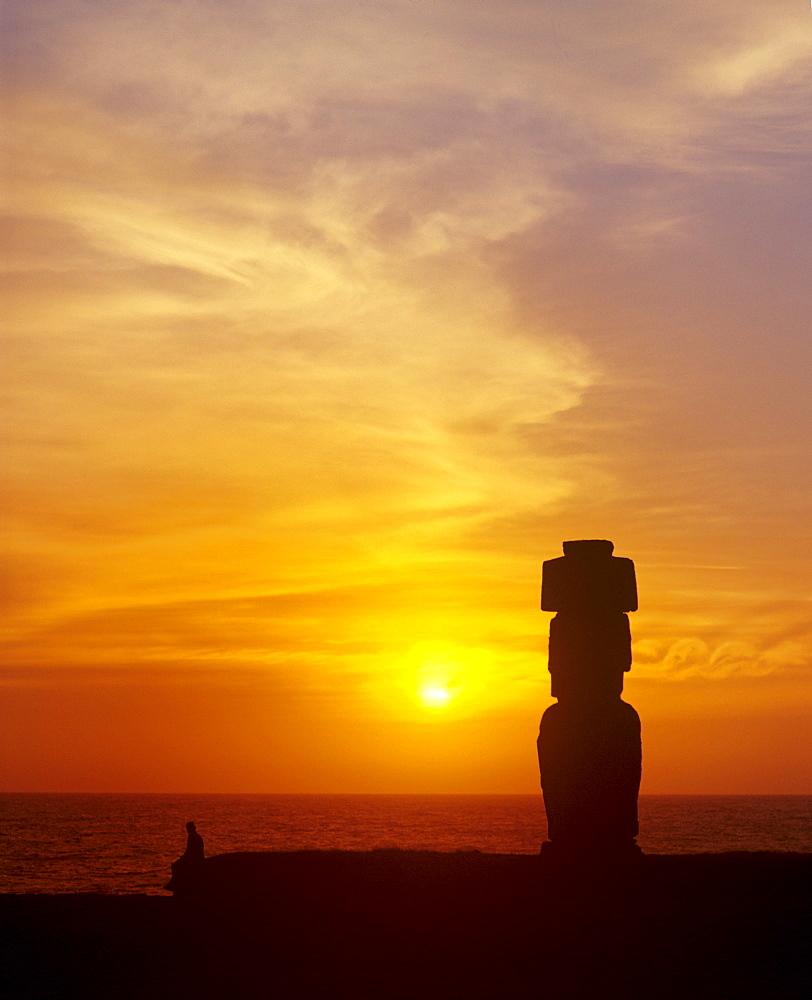 Moai Ahu Tahai, stone sculpture, sunset, Rapa Nui National Park, Easter Island, Chile, Oceania