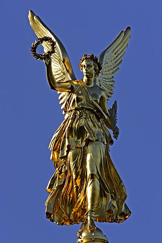 Victory goddess Victoria on top of the Memorial of the Battle of Fehrbellin in Hakenberg, Brandenburg, Germany, Europe