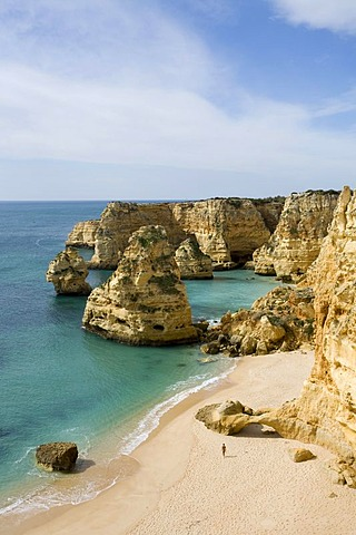 Bay with sandy beach near Marinha, Algarve, Portugal, Europe