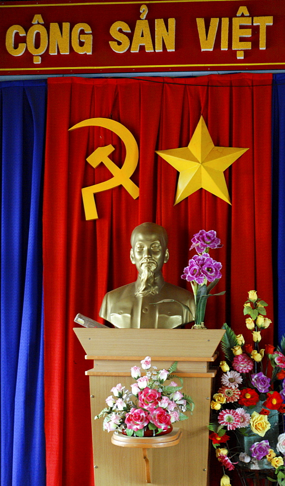 """Uncle Ho"", Ho Chi Minh, may not be missing in any public building, here in the house of the people's committee, village council hall, Dliya in the Dolisa district, Daklak province, Vietnam, Southeast Asia"