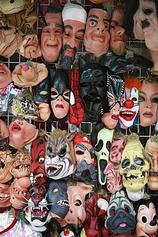 Shop sells masks of several celebrities, Hongkong, China