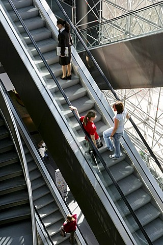 Petersbogen, shopping center, escalators, Leipzig, Saxony, Germany