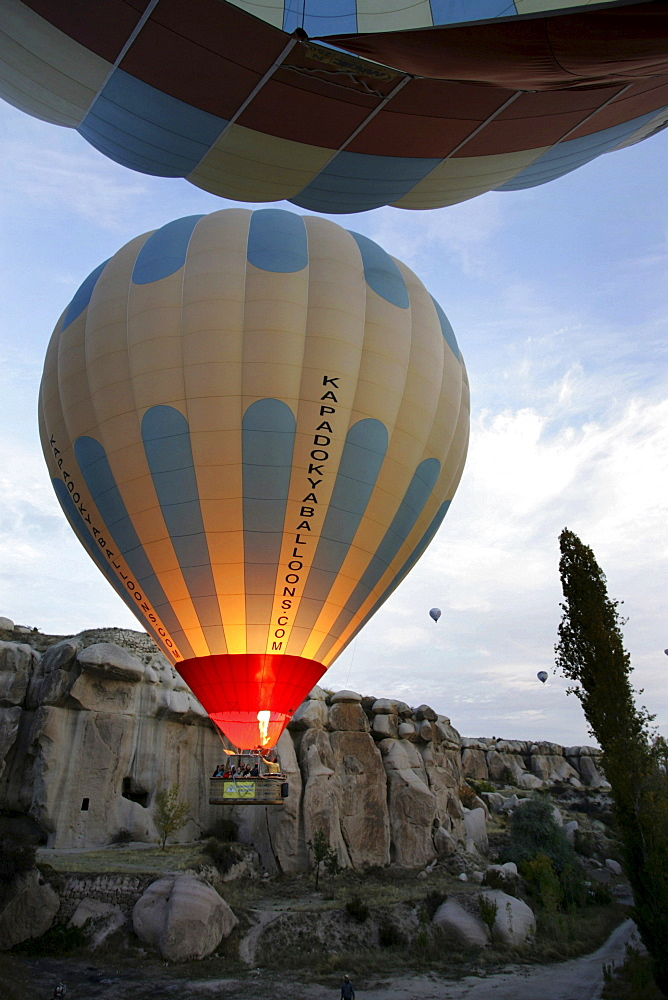 "TUR Turkey Cappadocia Hot Air Ballooning over Cappadocia. Balloons of ""Kapadokya Balloons"". Pre-launching procedere"