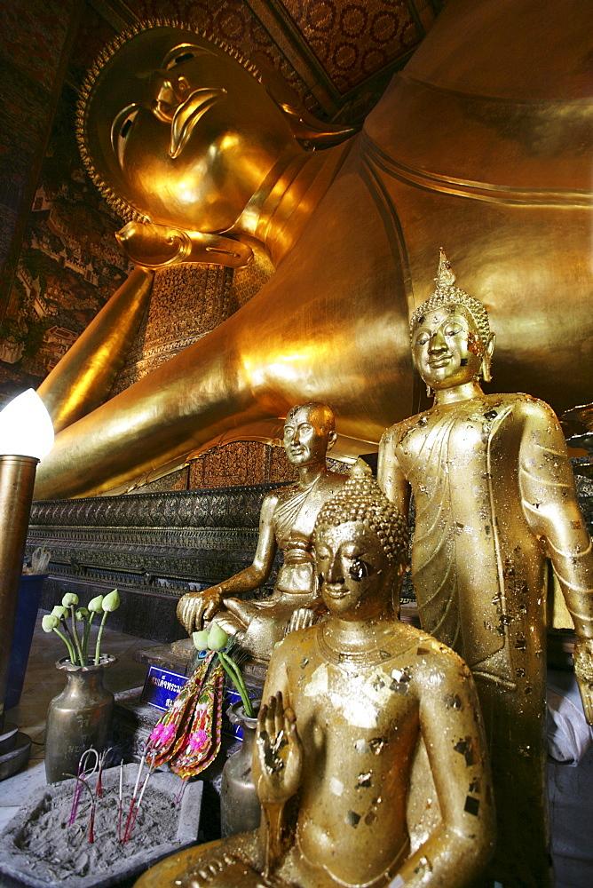 THA Thailand Bangkok Wat Pho Temple. Reclining Buddha figure. |