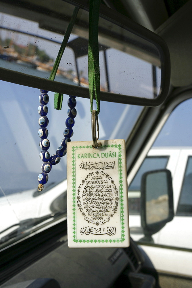 TUR Turkey Side Lucky charm in a car blue eyes chain and koran verse